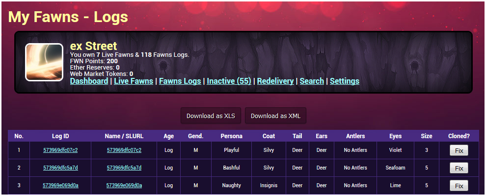 fawns-logs-example-page