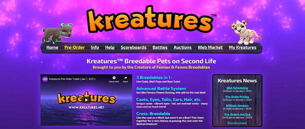 kreatures-website-announcement